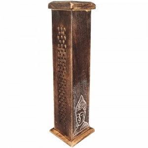 BOX INCENSE TOWER - Buddha Carved 30cm