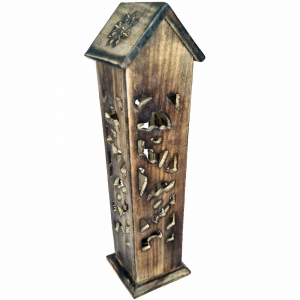 BOX INCENSE TOWER - Hut Carved 30cm