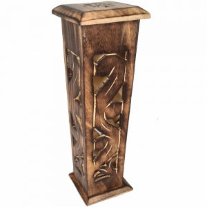 BOX INCENSE TOWER - Square Carved 30cm