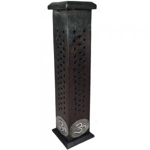 BOX INCENSE TOWER - Om Inlay Black 30cm