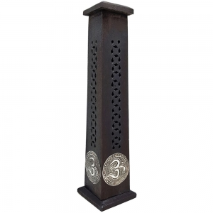 Om Inlay Black Incense Tower