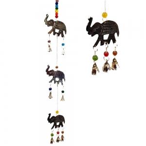 3 Elephant Brass Chakra String Bell 50cm