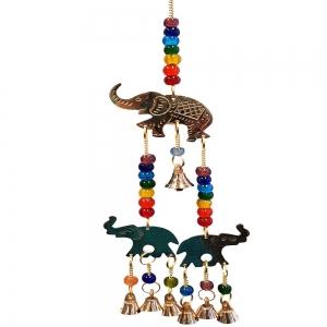 35cm 3 Elephant Brass Bell Chime