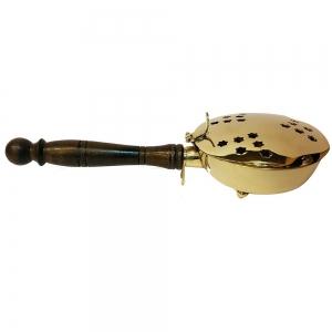 BRASS INCENSE BURNER - Charcoal Burner with Wooden Handle 23cm
