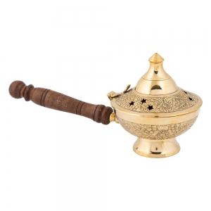 RESIN INCENSE BURNER - Brass with Handle 10cm x 22cm