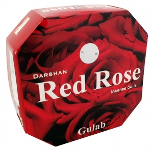 DARSHAN COIL - Red Rose Incense (10 Coils)