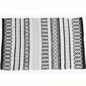 50cm x 80cm - Door Mat Cotton Black White