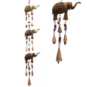 3 Elephant Iron Cut Bells 75cm