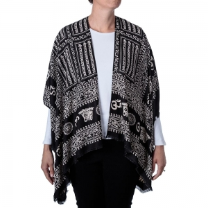 Om Print Kimono - Black