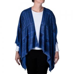 Om Print Kimono - Blue