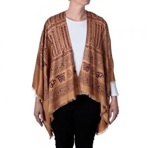 Om Print Kimono - Brown