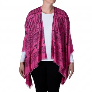 Om Print Kimono - Pink