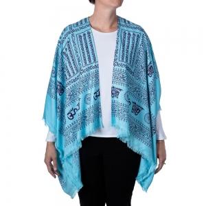 Om Print Kimono - Turquoise