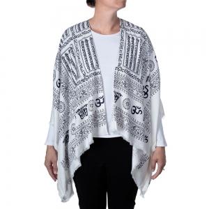 Om Print Kimono - White