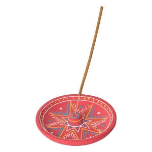 CLAY INCENSE HOLDER - Red Paint 13cm