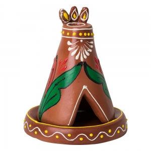 CLAY INCENSE HOLDER - Teepee Brown