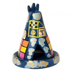 CLAY INCENSE HOLDER - Teepee Blue