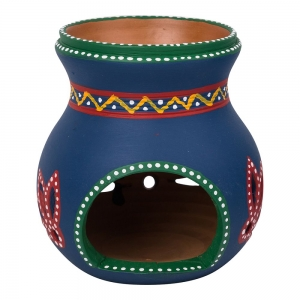 Clay Crafted Oil Burner Blue 12cm