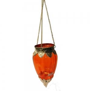 Brass Glass Hanging T-light Holder - Orange