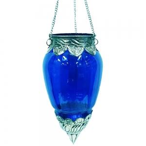Brass Glass Hanging T-light Holder - Turquoise