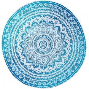 Light Blue Mandala Round Tapestry