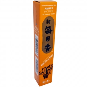 Morning Star - Amber 50 Bambooless Incense Sticks with Holder
