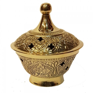 BRASS INCENSE BURNER - Engraved with Grill 7.5cm