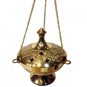 BRASS INCENSE BURNER - Engraved with Hanging Chain 10cm