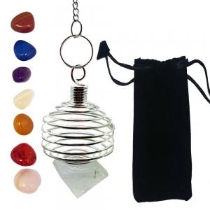7 Chakra Tumble Stone Cage Pendulum