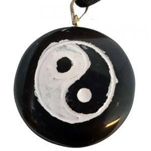 PENDANT - Engraved Black Jasper Ying Yang