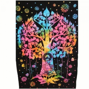 TAPESTRY - Buddha Tree Multi Tie Dye 140 X 210cm