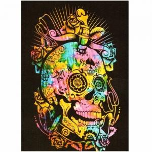 TAPESTRY - Black Skull Tie Dye 140 X 210cm