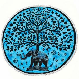 ROUND TAPESTRY Elephant Turquoise 180cm