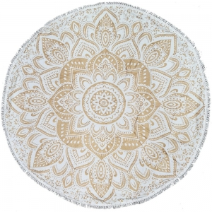 ROUND TAPESTRY Mandala Gold with Lace 180cm