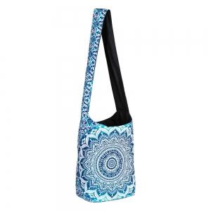 SHOULDER BAG - Cotton Lotus Mandala Blue