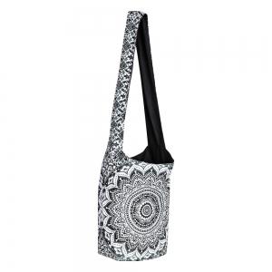 SHOULDER BAG - Cotton Lotus Mandala Black White