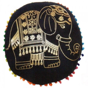PUFF CUSHION- Elephant Black Gold 9x38cm