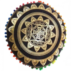 PUFF CUSHION- Mandala Black Gold 9x38cm