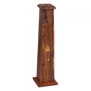 WOODEN INCENSE TOWER - Buddha Inlay 30cm