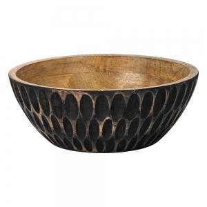 WOODEN BOWL - Anique Black Finish 10cm x 25cm