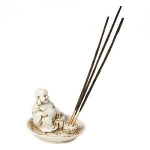 Laughing Buddha Polyresin Incense Burner