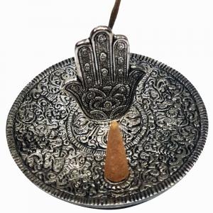 ALUMINIUM INCENSE BURNER - Hamsa Hand 11cm