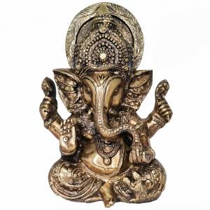 BRASS STATUE - Ganesh 15cm x 20cm x 29cm