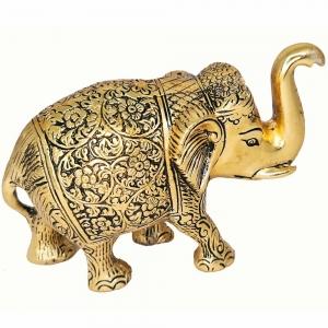 ALUMINIUM STATUE - Elephant Gold 12.5cm x 16cm