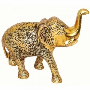 ALUMINIUM STATUE - Elephant Gold 17cm x 18cm
