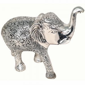 ALUMINIUM STATUE - Elephant Silver 17cm x 18cm