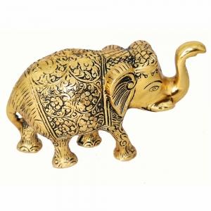 ALUMINIUM STATUE - Elephant Gold 8cm x 12cm