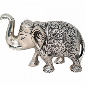 ALUMINIUM STATUE - Elephant Silver 8cm x 12cm