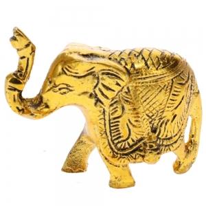 ALUMINIUM STATUE - Elephant Gold 7cm x 8.5cm