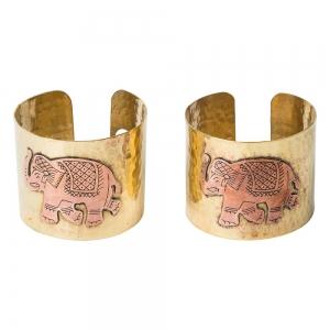 BRACELET - Brass Copper Elephant Inlay (Pair)